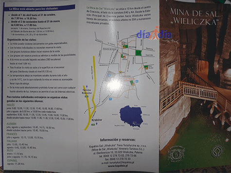 Folleto de la mina de sal Wieliczka